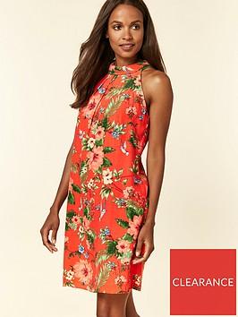 wallis-wallis-petite-floral-bird-halter-neck-dress