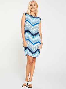 wallis-hotfix-chevron-shift-dress-blue