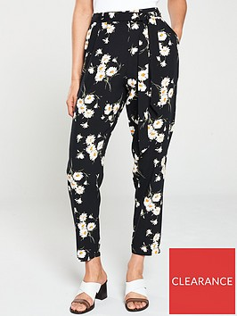 wallis-daisy-print-trouser-black