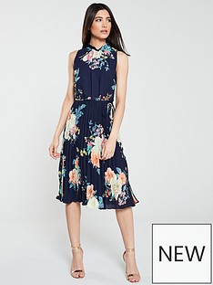 fc654ca5f1eb Oasis Oasis Botanical Plate Chiffon Pleated Midi Dress