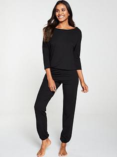v-by-very-three-quarter-sleeve-slouchy-lounge-set-black