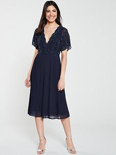 frock-and-frill-grace-embellishednbsppleated-midi-dress-navy