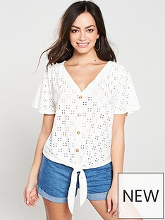 1589863e Oasis Broderie Button Through Tie Front Top - Off White