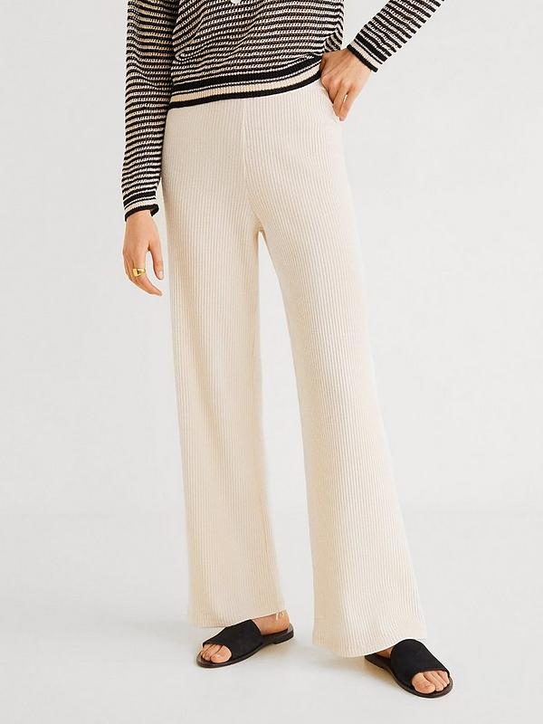 picked up buying cheap reliable quality Mango Knitted Wide Co-ord Leg Trousers - Off White | very.co.uk