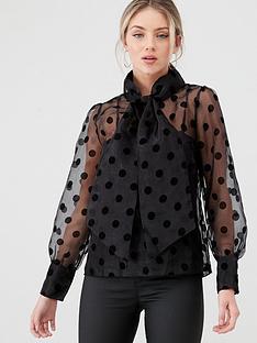 yas-olivia-polka-dot-sheer-blouse-black
