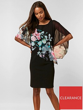 wallis-petite-oriental-floral-overlayer-dress