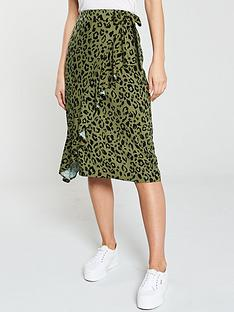 7377d128ce V by Very Wrap Midi Skirt - Leopard Print