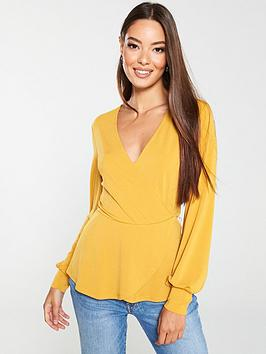 v-by-very-blouson-sleeve-wrap-top-mustard