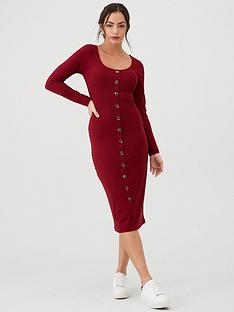 v-by-very-jersey-ribbed-button-front-midi-dress-berry