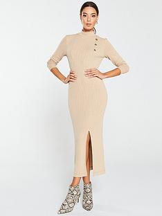 v-by-very-ribbed-high-neck-mock-horn-button-midi-dress-stone
