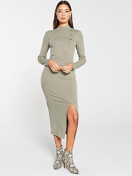 v-by-very-ribbed-high-neck-mock-horn-button-midi-dress-khaki