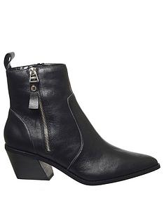 office-arrow-western-side-zip-leather-boots-black
