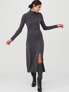 v-by-very-cut-and-sew-roll-neck-midi-dress-grey-marl