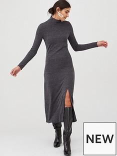 v-by-very-cut-and-sew-roll-neck-midi-dress-grey-marl