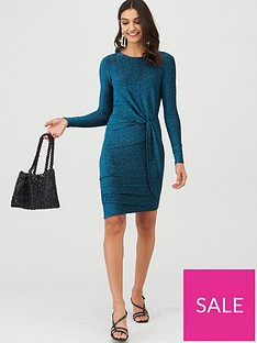 v-by-very-glitter-twisted-jersey-mini-dress-teal