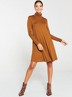 v-by-very-roll-neck-fit-amp-flare-dress-camel