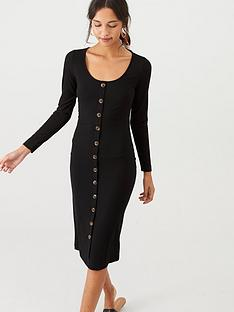 v-by-very-jersey-ribbed-button-front-midi-dress-black