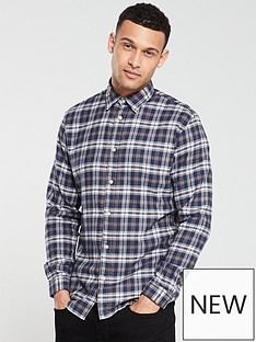 selected-homme-long-sleeved-checked-shirt-dark-bluebrown