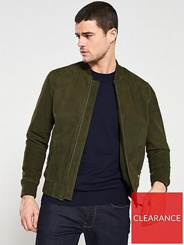 selected-homme-suede-bomber-jacket-khaki