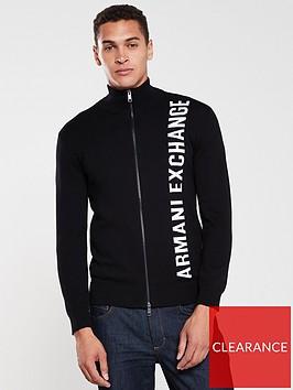 armani-exchange-knitted-zip-through-cardigan-black
