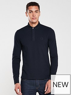 armani-exchange-long-sleeved-logo-polo-shirt-navy