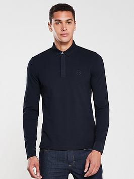armani-exchange-long-sleeved-logo-polo-shirt-navy