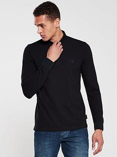 armani-exchange-long-sleeved-logo-polo-shirt-black