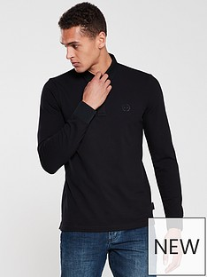 armani-exchange-long-sleeved-logo-polo-shirt-black
