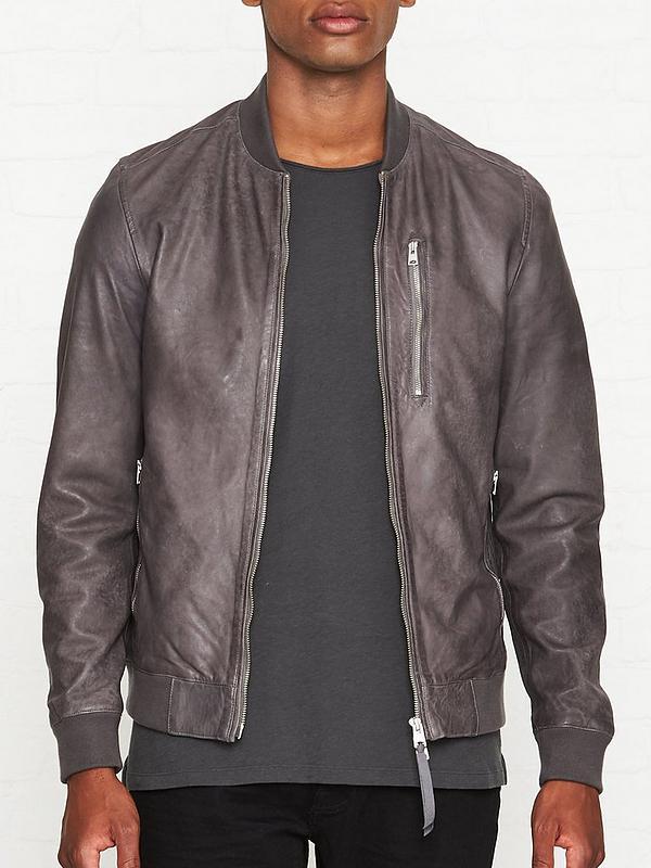 Kino Leather Bomber Jacket Grey