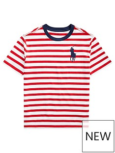 f8d9b9d2f Ralph Lauren Boys Short Sleeve Stripe T-Shirt - Red