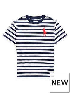7ca70cf7 Ralph Lauren Boys Short Sleeve Stripe T-Shirt - Navy