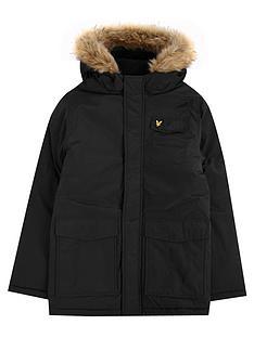 lyle-scott-lyle-scott-boys-fleece-lined-faux-fur-hood-parka