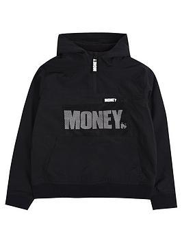 money-boys-mesh-detail-fleece-lined-windbreaker-black