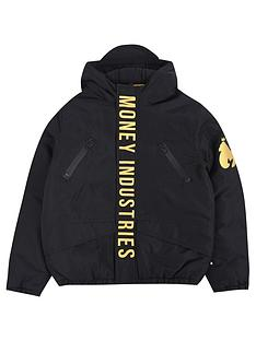 money-boys-gold-padded-hooded-jacket-black