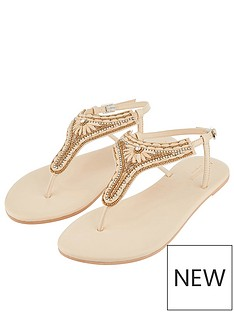 a6a8f3b47 Accessorize Cairo Raffia Thong Sandals - Natural