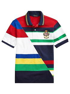 ralph-lauren-boys-short-sleeve-colourblock-badge-polo-shirt-white-multi