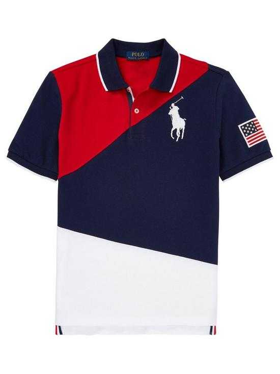 Sleeve Navy Pony Big Boys Colourblock Polo Short Shirt 9H2EDWI