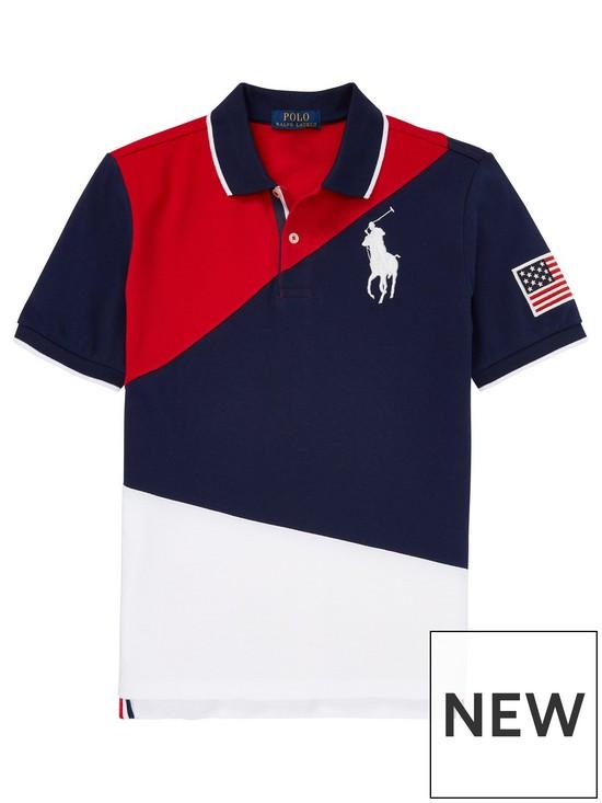be4830033 Ralph Lauren Boys Short Sleeve Colourblock Big Pony Polo Shirt - Navy