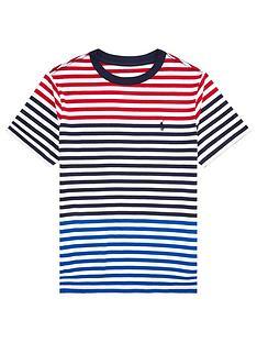 cba08941 Ralph Lauren Boys Short Sleeve Multi Stripe T-Shirt - Red Multi