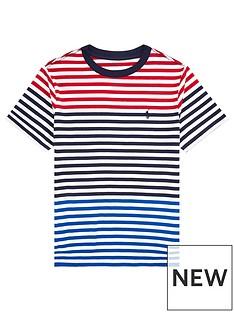 ac4f772df Ralph Lauren Boys Short Sleeve Multi Stripe T-Shirt - Red Multi