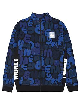 money-boys-all-over-print-zip-through-track-top-blue