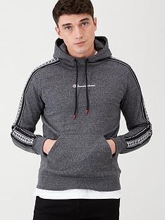 champion-tape-overhead-hoodie-dark-grey-marl