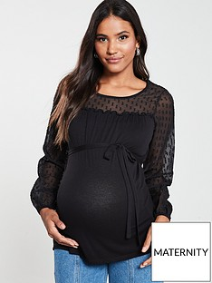 mama-licious-maternity-long-sleeve-lace-mix-top-black