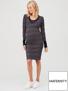 mama-licious-maternity-nursing-kaylo-nell-knit-bodycon-dress-stripe