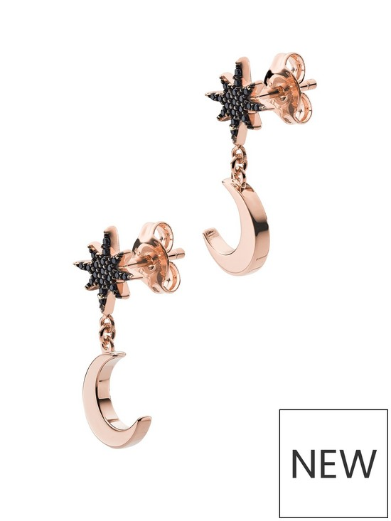 6aad5e1e Emporio Armani Rose Gold Plated Sterling Silver Moon and Star Ladies Drop  Earrings