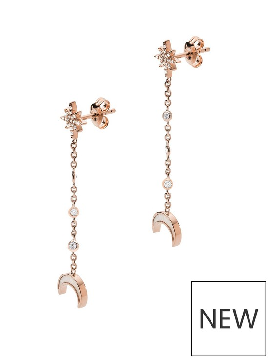 21f0c498 Emporio Armani Rose Gold Plated Sterling Silver Moon and Star Ladies Long  Drop Earrings