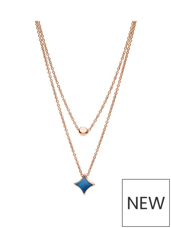 9683c863c571a Fossil Rose Gold and Blue Mother of Pearl Double Layer Ladies Necklace