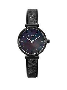 skagen-skagen-annalie-black-mother-of-pearl-25mm-dial-black-stainless-steel-glitz-mesh-strap-ladies-watch