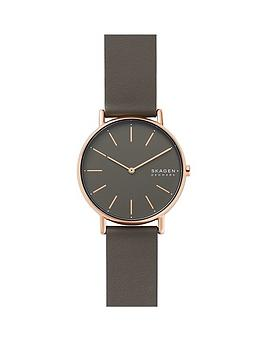skagen-skagen-signatur-grey-and-rose-gold-detail-dial-grey-leather-strap-ladies-watch