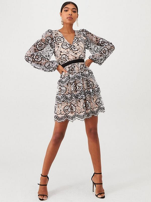 Long Sleeve Lace Frill Skater Dress Black Ivory